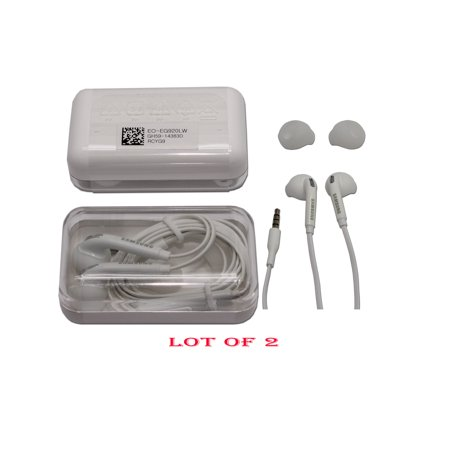 Original Samsung Wired (2PCS) Headset EO-EG920LW 3.5mm for Samsung Galaxy Note 4 5 S6 S6 Edge S7 S7 Edge in Jewel case in Non Retail Pack