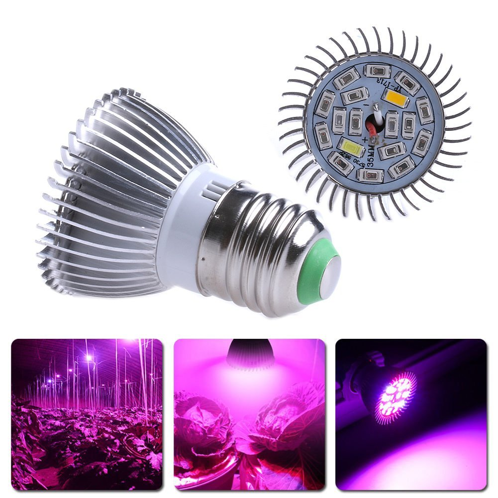 Peralng 18W/85-265V Grow Light Bulbs, LED Grow Lights for Indoor Plant, Grow Lamp for Indoor Garden Greenhouse Organic and Hydroponic Plants Full Spectrum (E27 18leds)