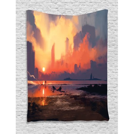 Fantasy World Decor Tapestry Man On Sandy Beach With City Skyscrapers Skyline Sunset Oil Graphic