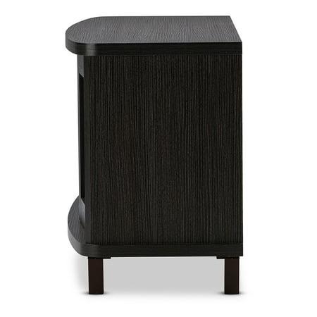 Baxton Studio Walda 60-Inch Dark Brown Wood TV Cabinet with 2 Sliding Doors and 1 Drawer