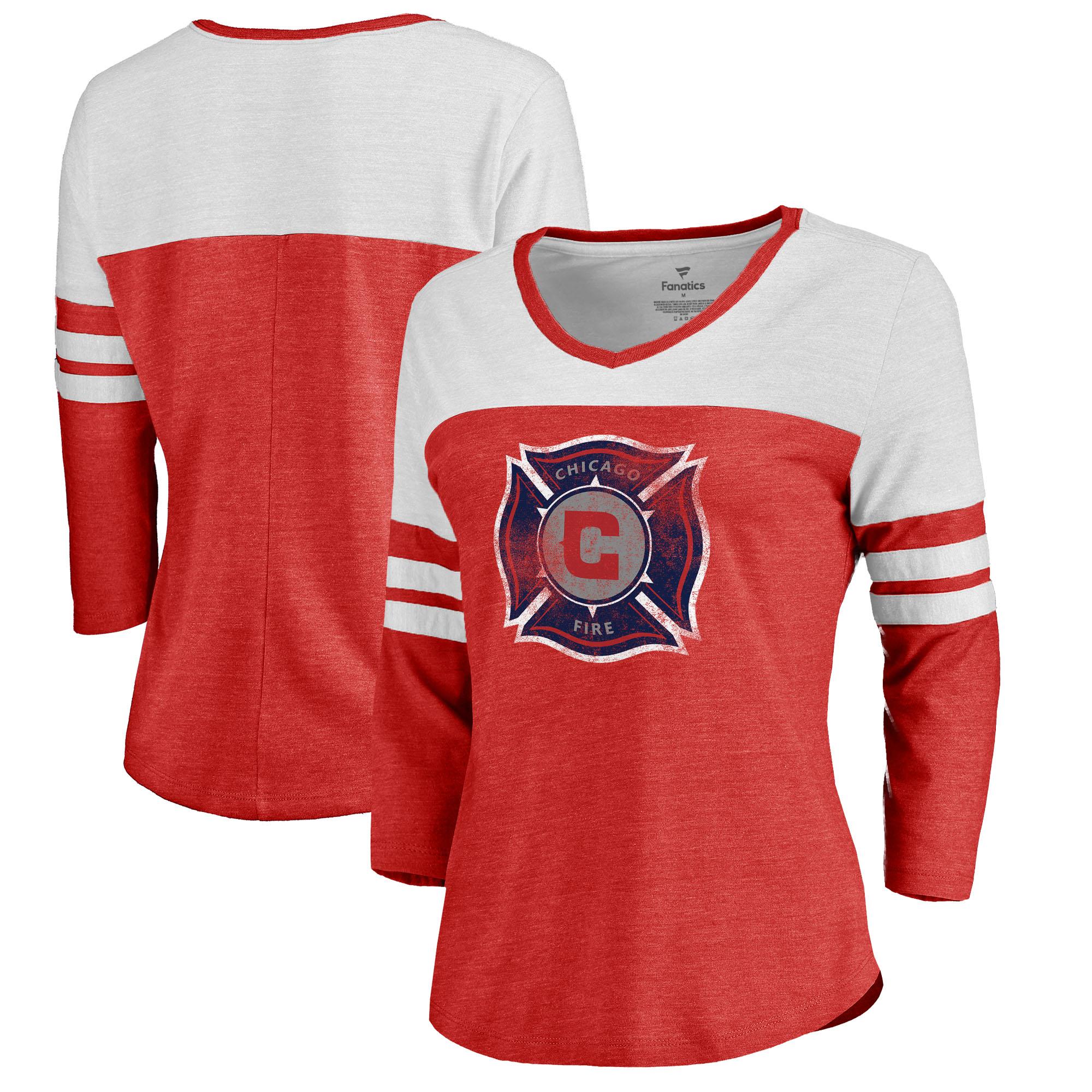 Chicago Fire Fanatics Branded Women's Distressed Primary Logo Raglan Tri-Blend 3/4 Sleeve T-Shirt - Red