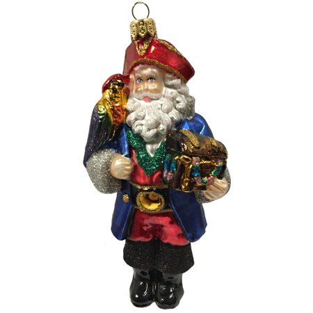 Pirate Santa Claus with Parrot and Treasure Chest Czech Glass Christmas Ornament - Pirate Christmas