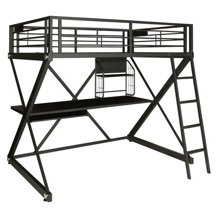 Powell Z Bedroom Full Size Study Loft Bunk Bed Black