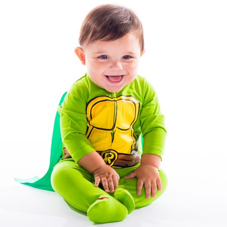 Nickelodeon Ninja Turtles Baby Boys' Sleep N Play Coverall with Footies and Cape 6-9