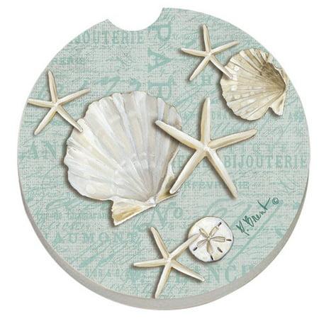 CounterArt Absorbent Stone Linen Shells Seashells Car Coaster (Set of 2)
