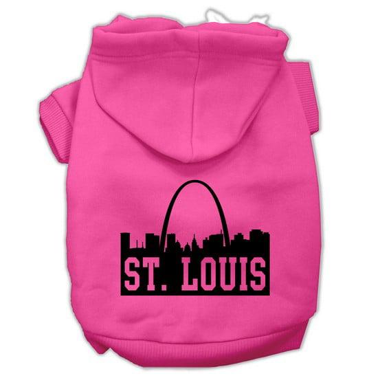 St Louis Skyline Screen Print Pet Hoodies Bright Pink Size Lg (14)