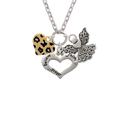 Tan Cheetah Print Gold Tone Heart Believe Faith Prayer Heart and Angel Zoe Necklace