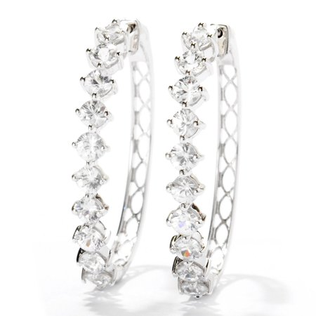 Sterling Silver Natural White Zircon Clicker Back Hoop Earrings