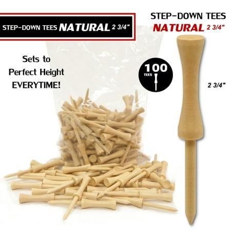 Step Down Golf Tees - Premium Natural Wood Golf Tees (Step Tees) - 100 Pack