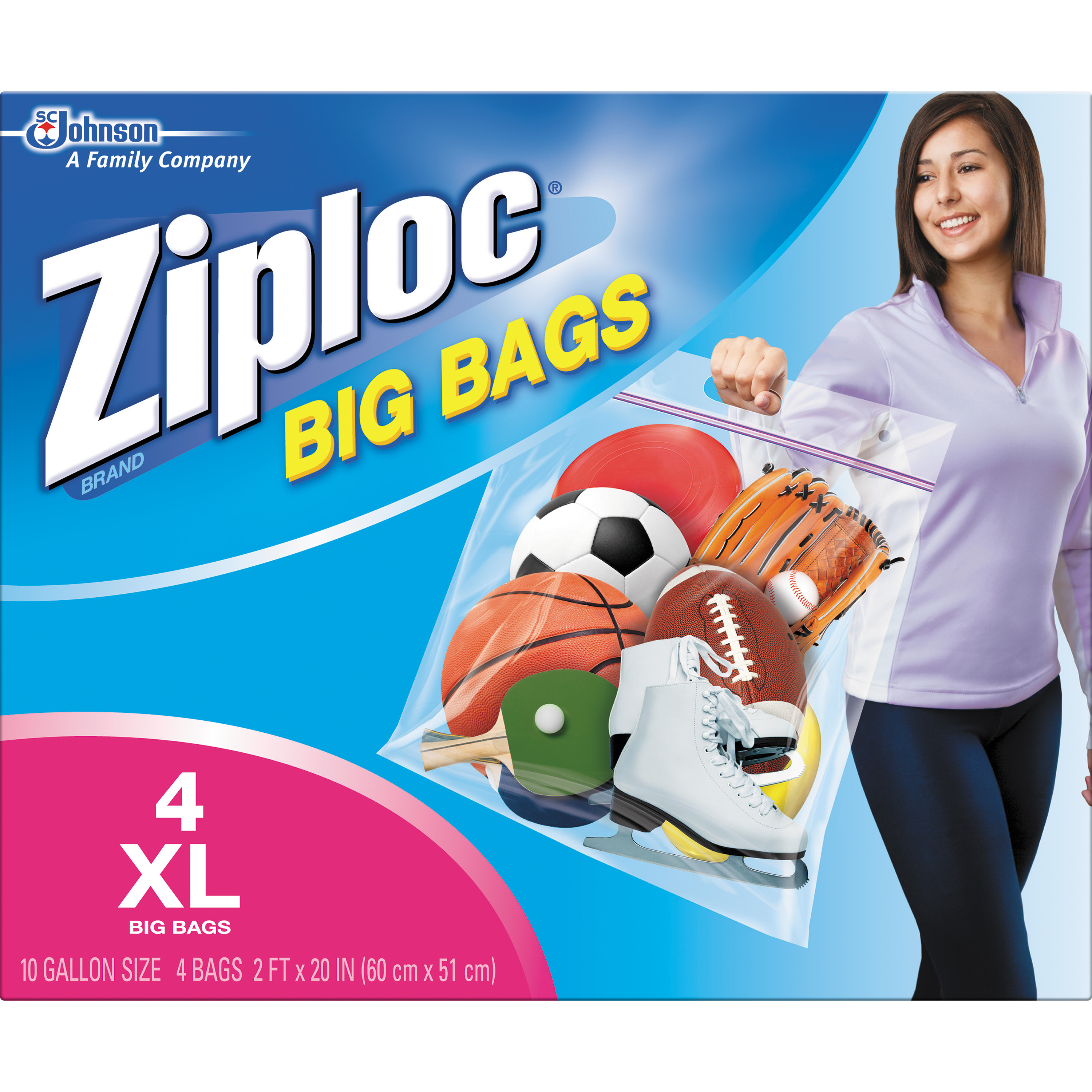 Ziploc Pinch And Seal Storage Bags Xl 10 Gallon 4 Count
