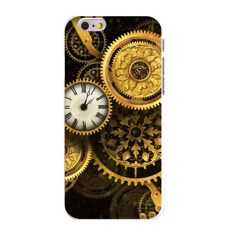 "CUSTOM White Hard Plastic Snap-On Case for Apple iPhone 6 PLUS / 6S PLUS (5.5"" Screen) - Clocks Clockwork Gold"