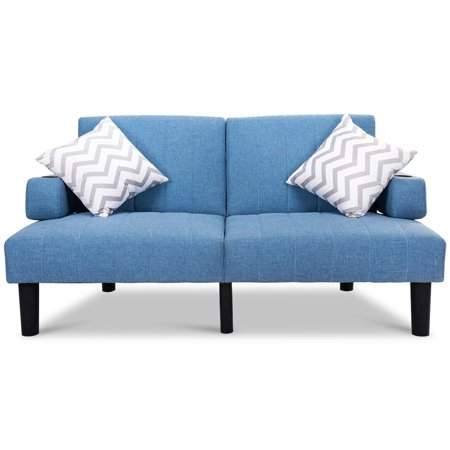 GHP Blue Split Back 3 Back Reclining Angle Futon Sofa Bed Lounge with Armrests