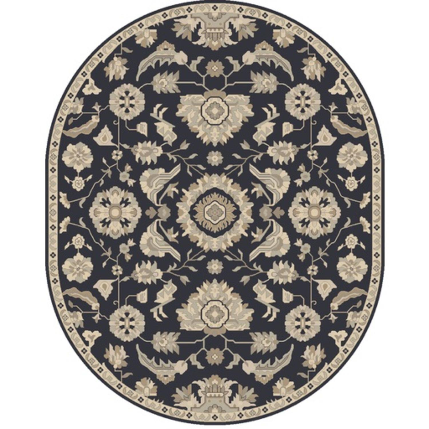 8' x 10' Elegant Leaves Navy Blue and Sandy Beige Oval Wool Area Throw Rug