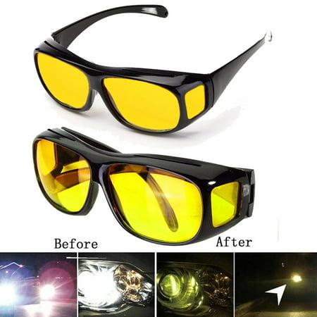 2PCS Unisex Men Women Yellow Lenses High Definition HD Sunglasses UV Protection Goggle For Night Vision Driving Sports (50s Sunglasses Men)