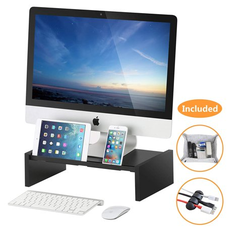 FITUEYES Monitor Stand Riser Storage Organizer for Computer,Printer,iMac,Laptop,Desk with Tablet & Phone Holder,Cable Management Slot,Black