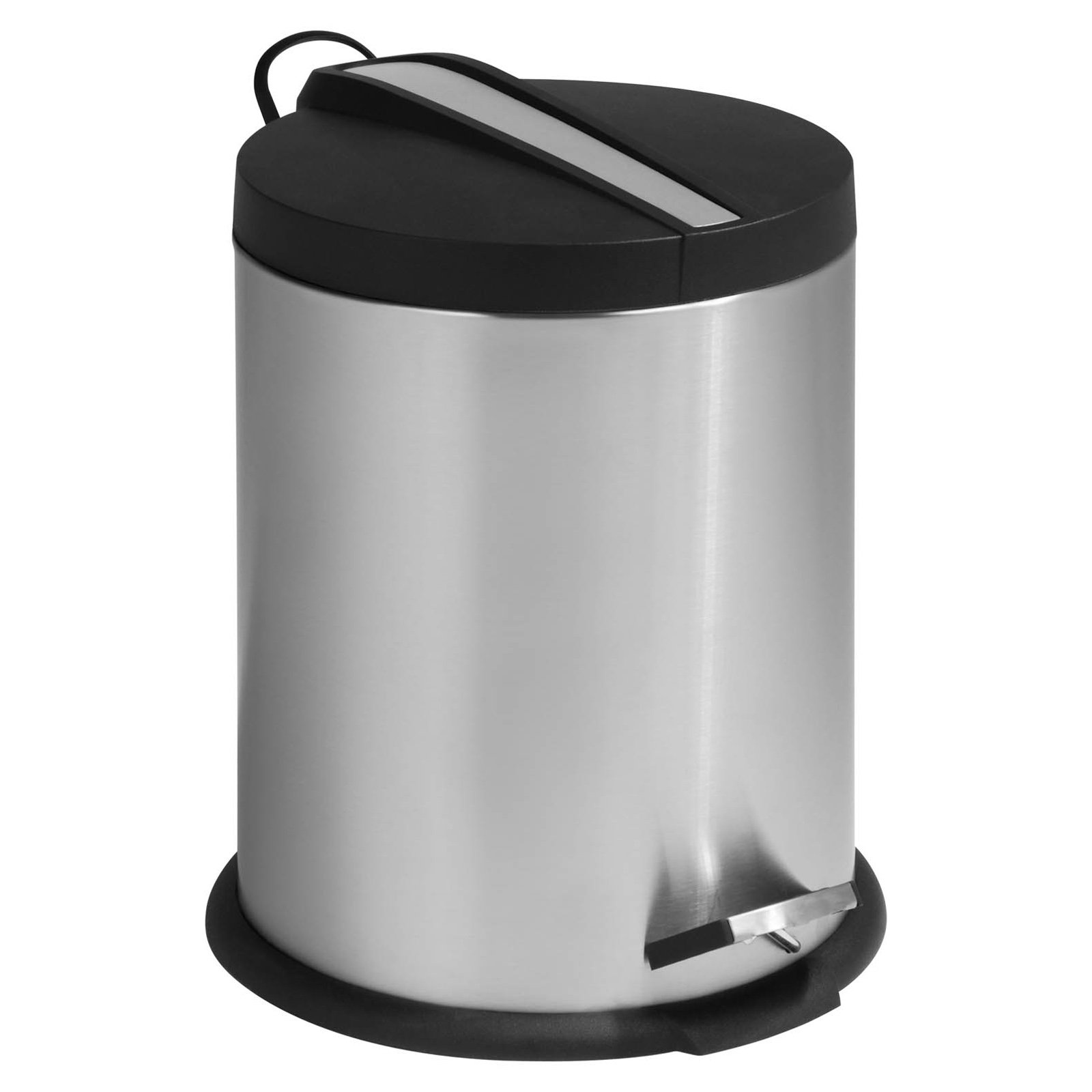 Honey Can Do 1.3 Gallon Round Step Trash Can, Stainless Steel