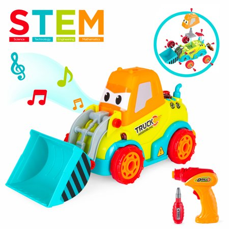 Best Choice Products 24-Piece Kids Educational STEM Take Apart Construction Bulldozer Truck Car Toy w/ Sounds, Lights, Functional Electric Screwdriver Drill