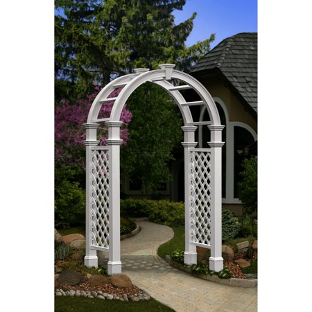 New England Arbors Nantucket Legacy 8.5' Vinyl Arbor Arbor with Trim Kit - White