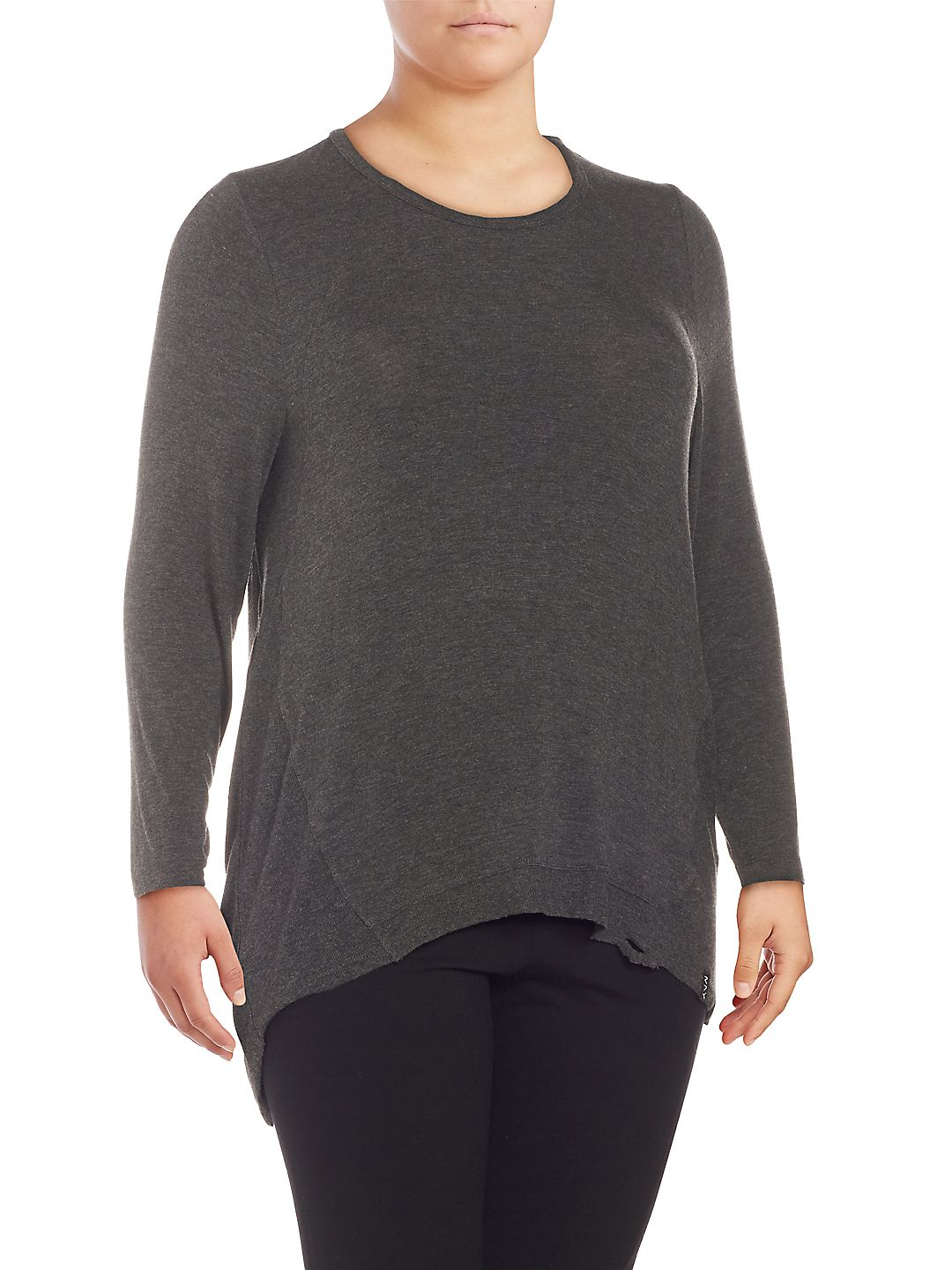 Plus Long-Sleeve High-Low Tunic
