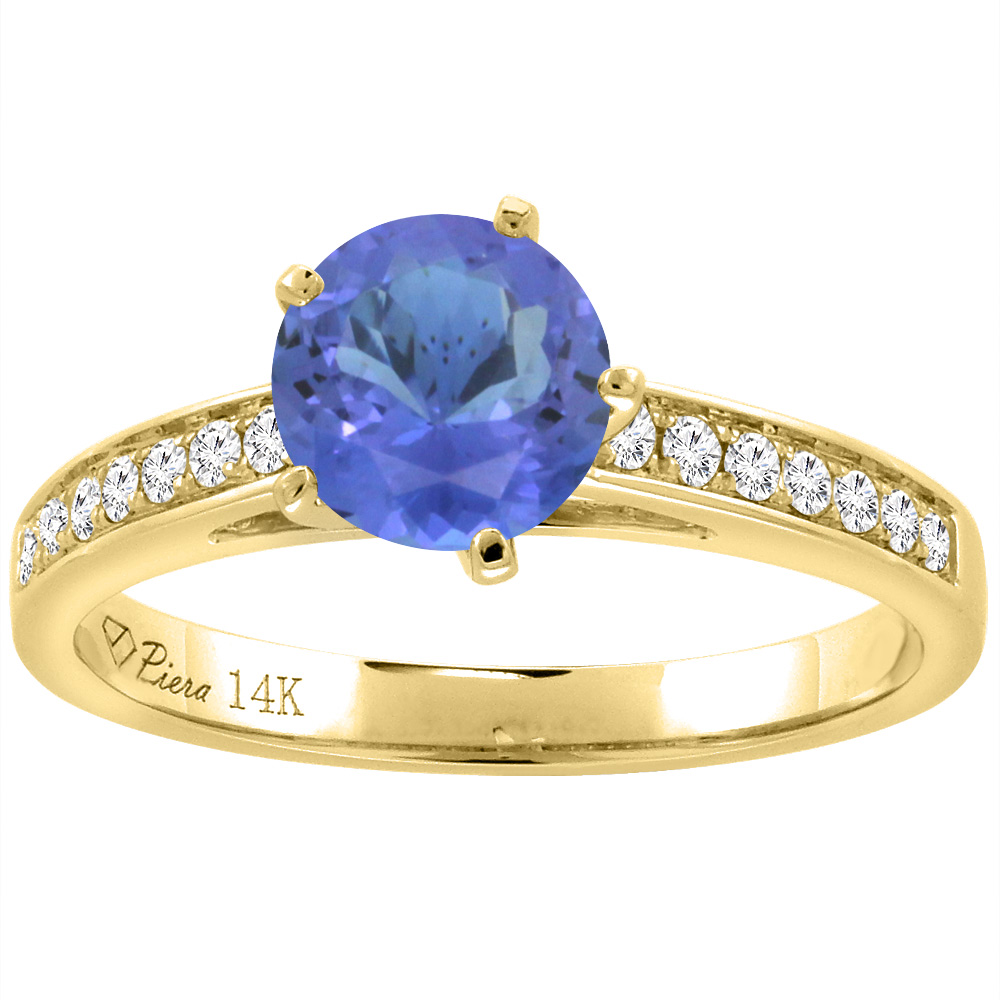 14K Yellow Gold Diamond Natural Tanzanite Engagement Ring Round 7 mm, size 5 by Tanzanite Rings