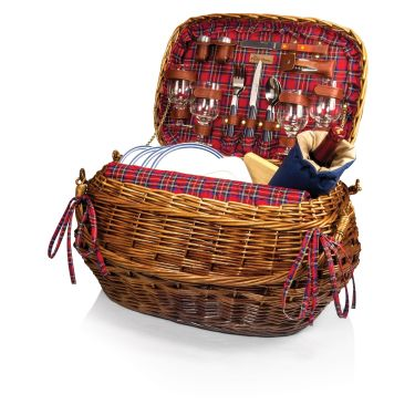 Highlander- Willow Red Tartan Dlx Picnic Basket for 4 by