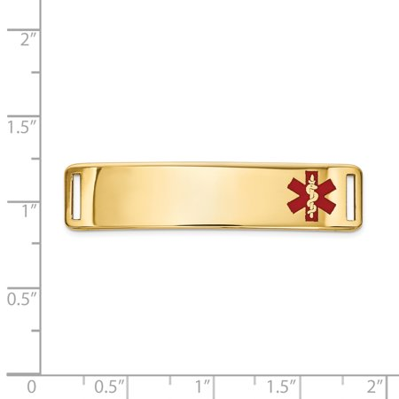 14K Yellow Gold Epoxy Enameled Medical ID Off Ctr Plate # 820 - image 2 de 2
