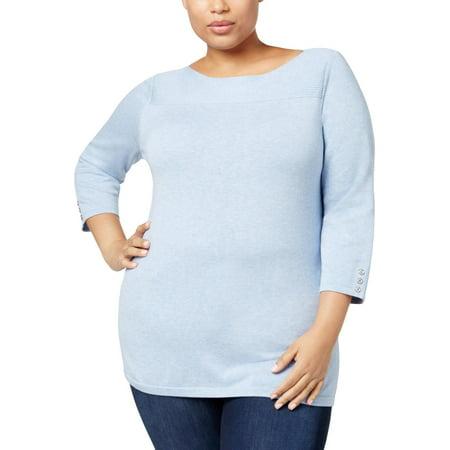 Boatneck Sheer Sweater - Karen Scott Womens Plus Knit Boatneck Pullover Sweater