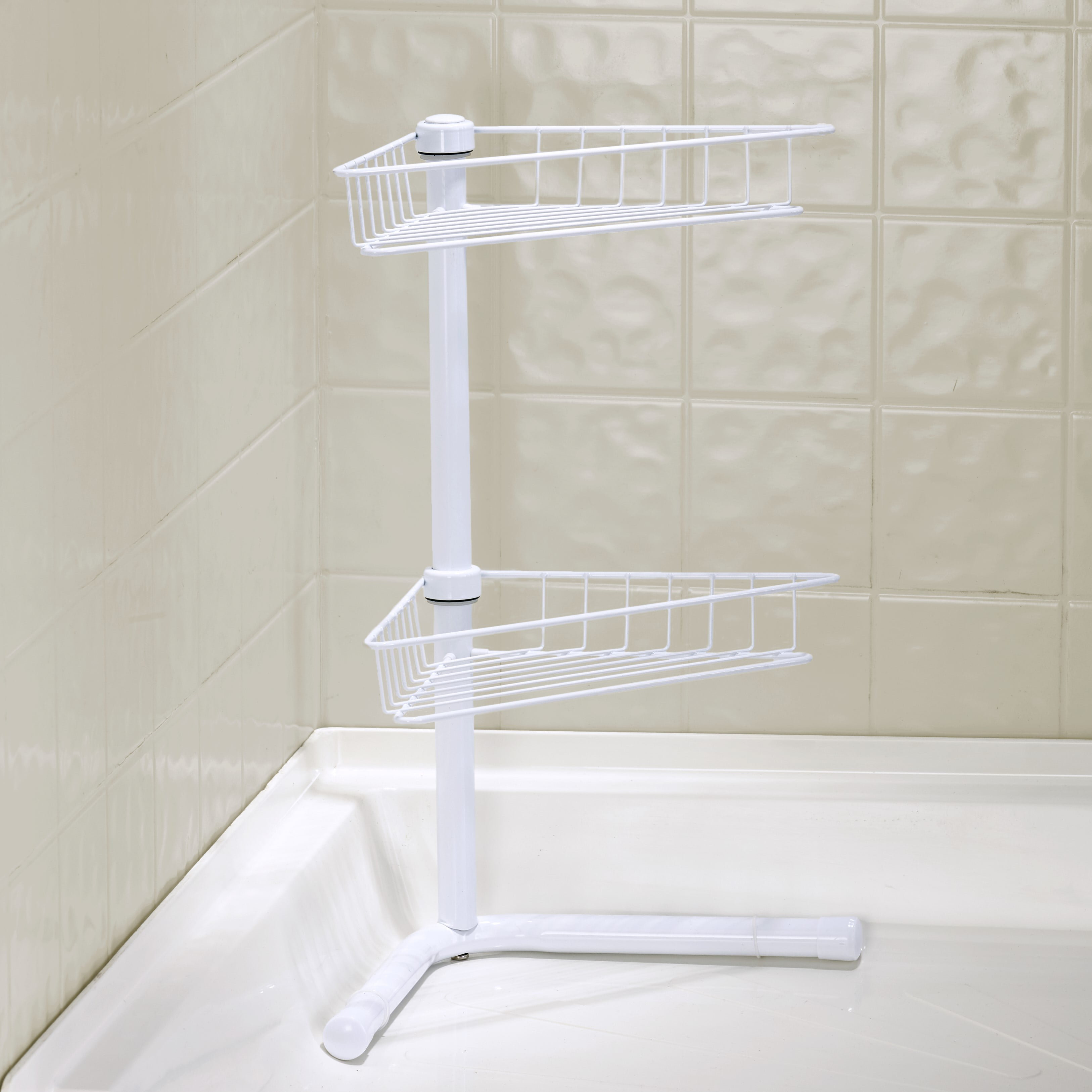 Free Standing Corner Bathroom Shelf 2 Tier Shower Organizer Caddy Walmart Com Walmart Com