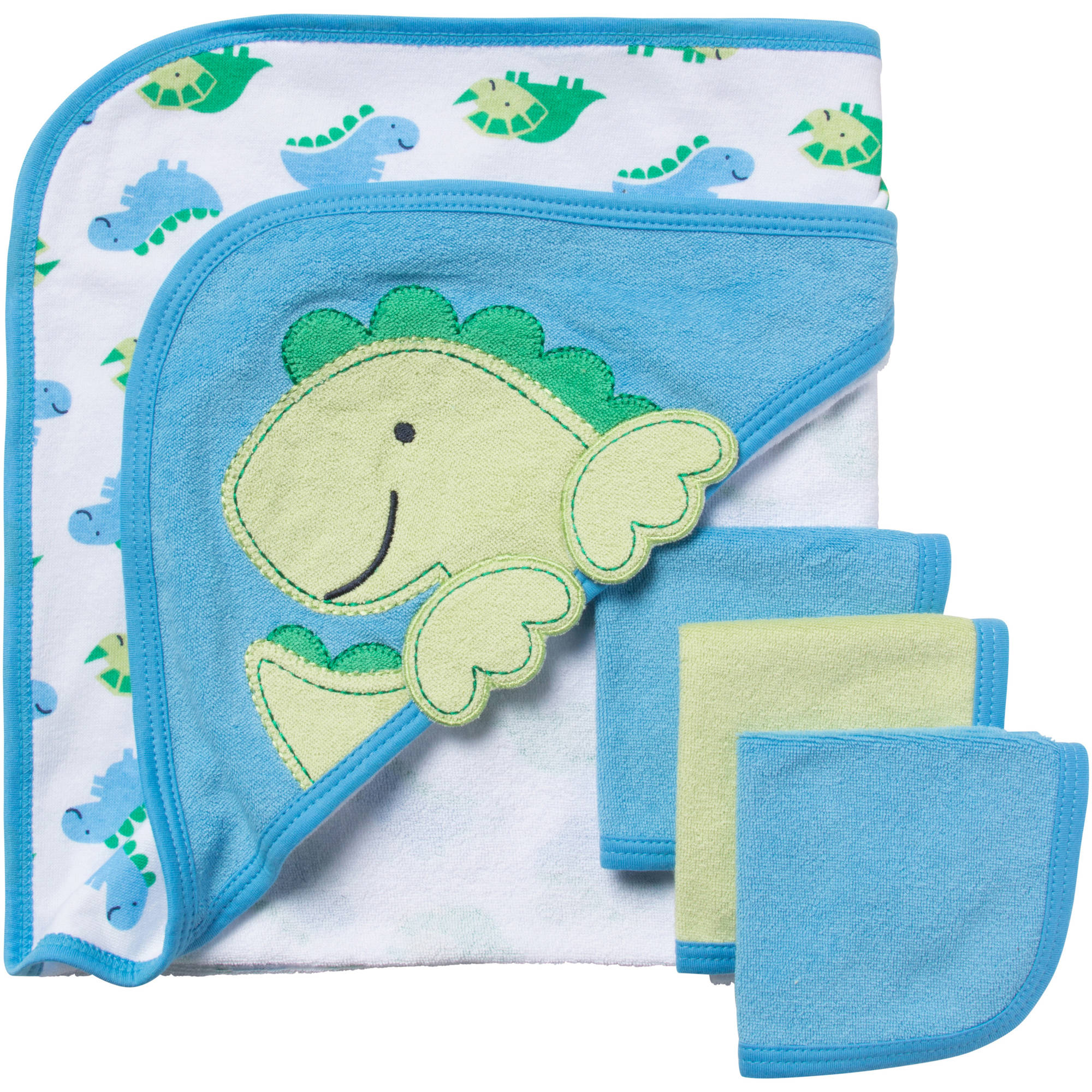 Gerber Newborn Baby Boy Bath Set, 4-Piece