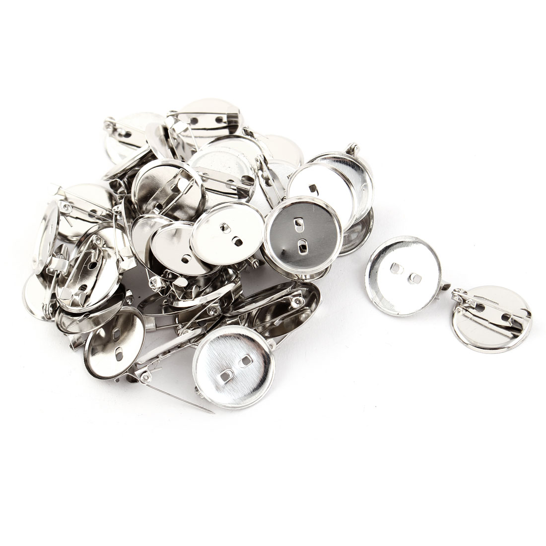 Women Round Safety Pin Back Brooch Finding DIY Base Silver Tone 1.9cm Dia 40pcs