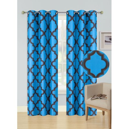 2-Piece MOZA TURQUOISE/BROWN Geometric Blackout Lined Grommet Window Curtain Set, Two (2) Printed Thermal Panels 37