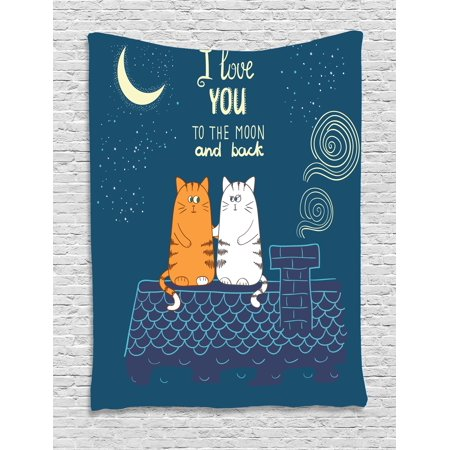 - I Love You Tapestry, Love Cats on the Roof under Night Sky Moon Stars Caricature Kitty Image, Wall Hanging for Bedroom Living Room Dorm Decor, 60W X 80L Inches, Petrol Blue Ivory, by Ambesonne