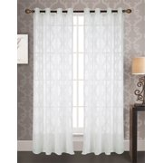 Knox Jacquard 54 x 84 in. Grommet Single Curtain Panel, White