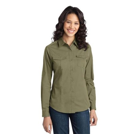 Port Authority® Ladies Stain-Resistant Roll Sleeve Twill Shirt. L649 Vintage - image 1 of 1