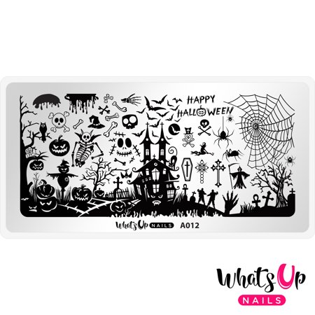 Whats Up Nails - A012 Happy Halloween Stamping Plate Nail Art Design (Halloween Spider Nail Art)