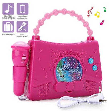 Karaoke Machine for Kids - Portable Mini Singing Music Player for Girls - Sing Along Boombox with Microphone, AUX Cable and Battery Included, Connect to MP3 Player, iPod, iPhone - Halloween Sing Along Cd