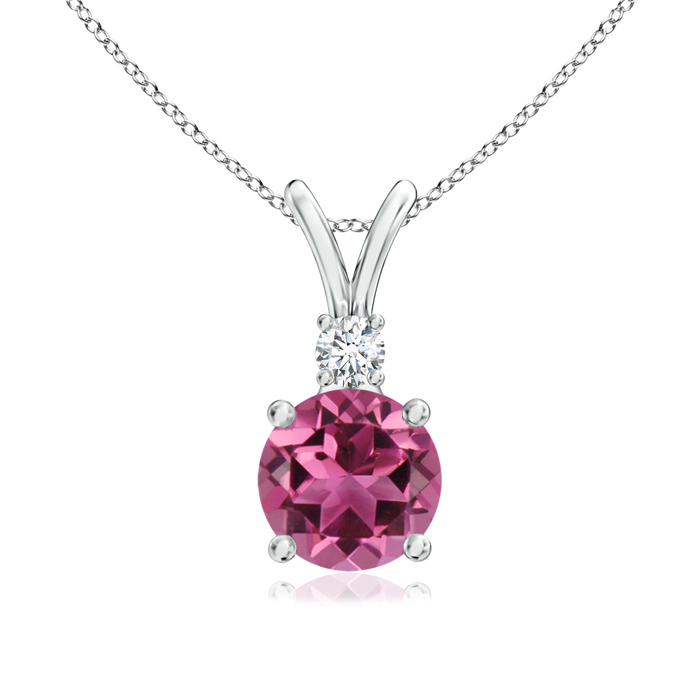 October Birthstone Pendant Necklaces V-Bail Round Pink Tourmaline Solitaire Pendant with Diamond in 950 Platinum (6mm... by Angara.com
