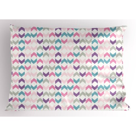 Geometric Pillow Sham Oriental Chevron and Ikat Motif with Eastern Influences Boho Art Print, Decorative Standard Queen Size Printed Pillowcase, 30 X 20 Inches, Violet Pink Teal, by Ambesonne