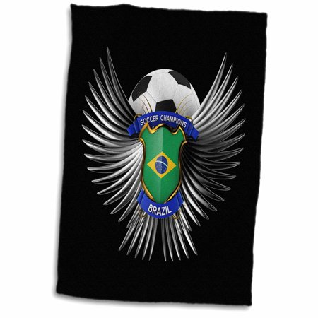 15 Flag Soccer Lamp - 3dRose Soccer concept with crest ball and shield with the Brazilian flag on it Brazil champions champion - Towel, 15 by 22-inch