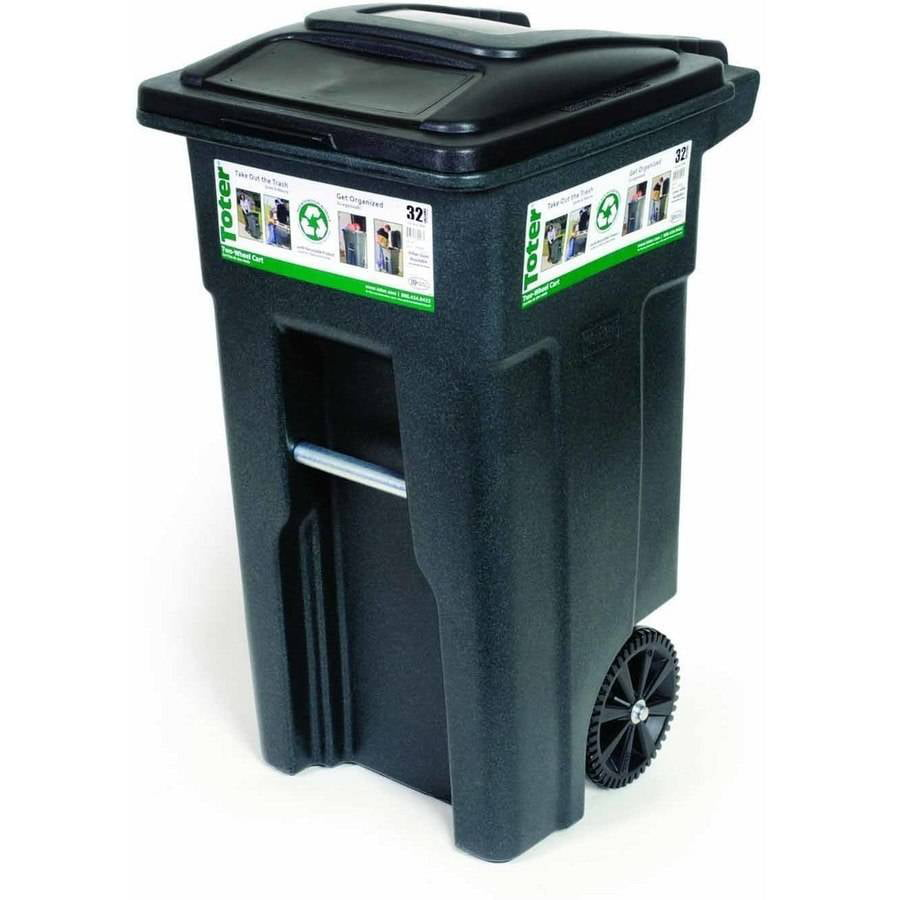 Toter 32 Gal. Trash Can Greenstone with Wheels and Lid - Walmart.com -  Walmart.com