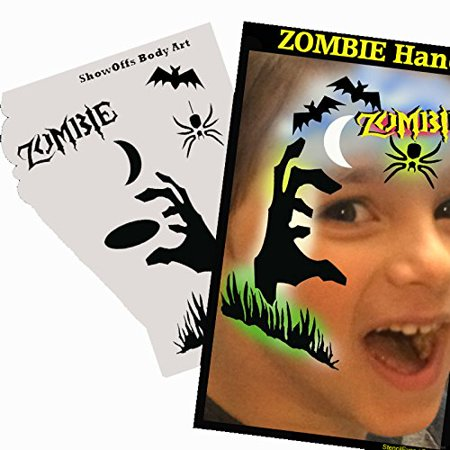Halloween Face Painting Stencil - StencilEyes Profile Zombie Hand, The original face painting stencils - Made in the USA By ShowOffs Body Art Ship from - Happy Halloween Printable Stencils