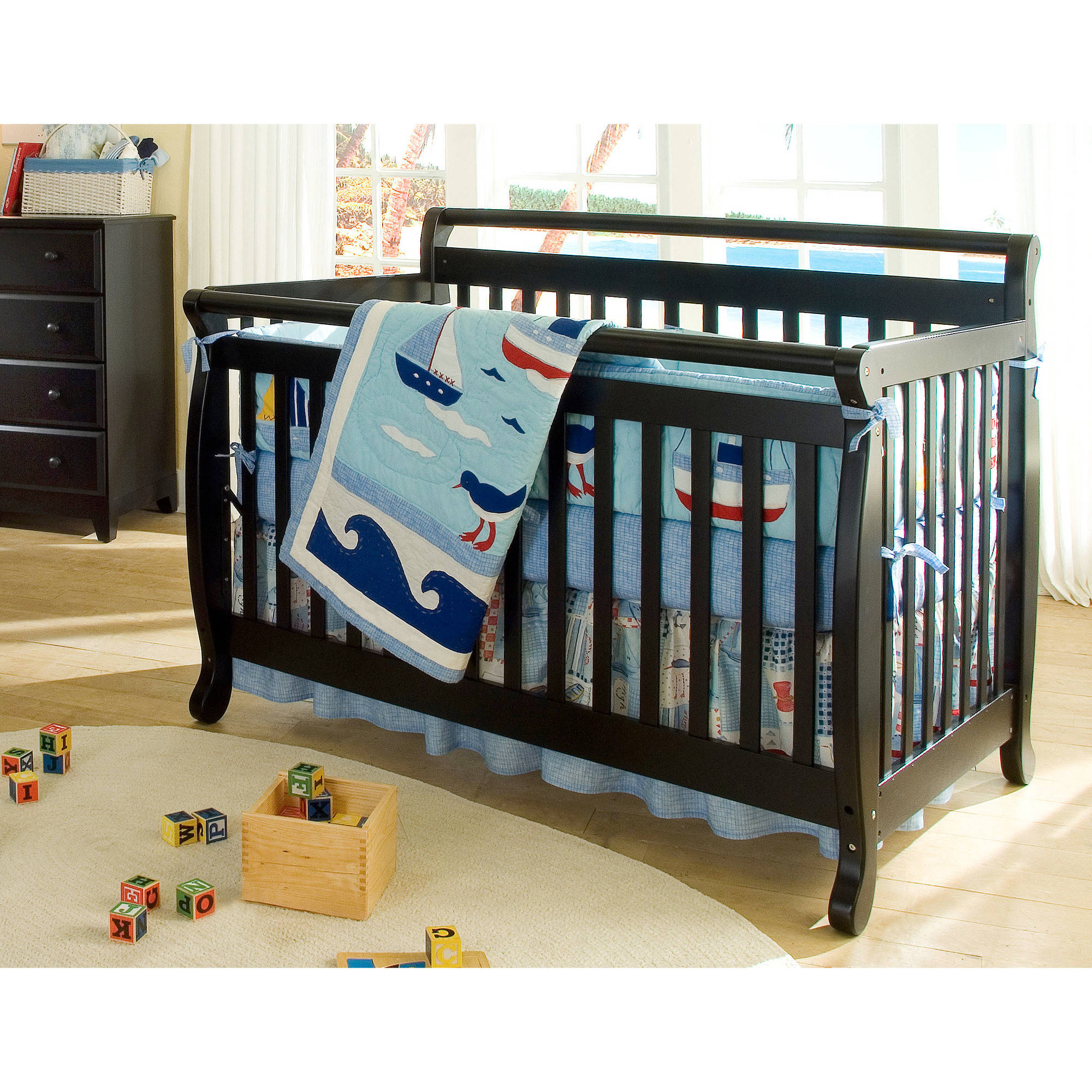 DaVinci Emily 4-in-1 Fixed-Side Convertible Crib with Toddler Rail, Ebony