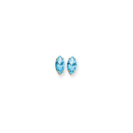 ICE CARATS 14kt Yellow Gold 12x6mm Marquise Blue Topaz Post Stud Ball  Button Earrings Gemstone Fine Jewelry Ideal Gifts For Women Gift Set From  Heart