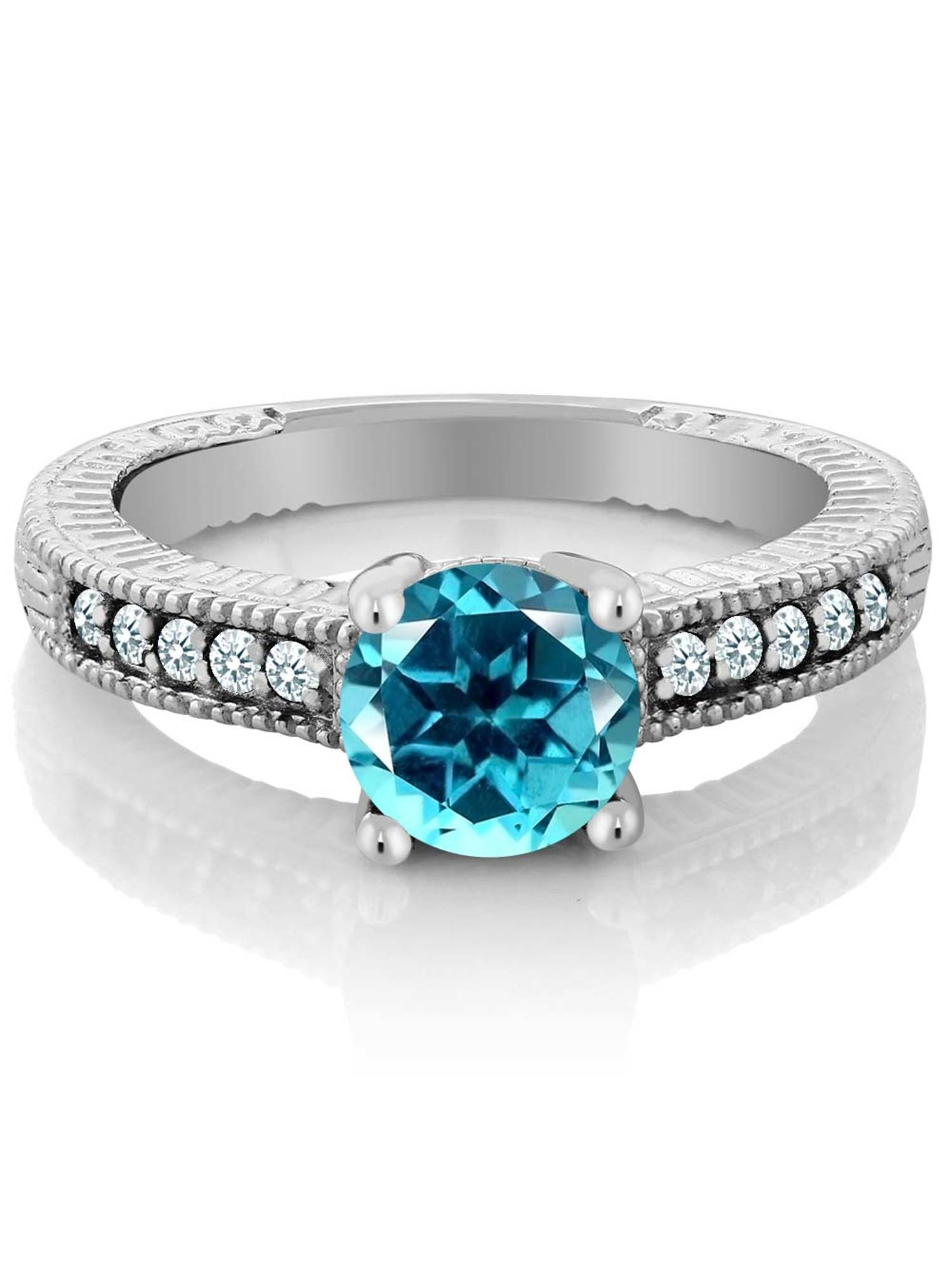 925 Sterling Silver Ring Created Sapphire Set with Paraiba Topaz from Swarvoski by
