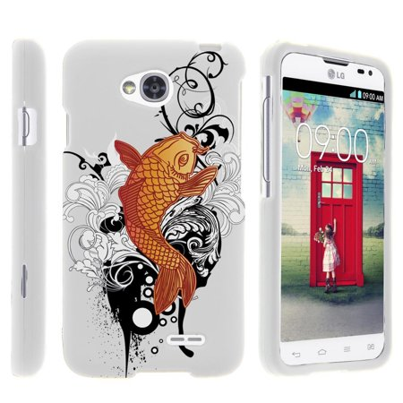 LG Optimus L70, Ultimate 2, Optimus Exceed, [SNAP SHELL][White] 2 Piece Snap On Rubberized Hard White Plastic Cell Phone Case with Exclusive Art -  Koi Fish