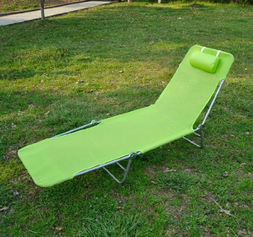 Outsunny Adjustable Reclining Beach Sun Lounge Chair - Green
