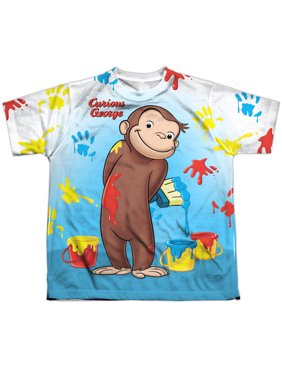 Curious George Paint All Over (Front Back Print) Big Boys Youth Sublimation Polyester Shirt
