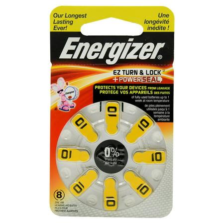 Energizer EZ Turn & Lock + Power Seal Zinc Air Hearing Aid Batteries, 1.4V, Mercury-free, Size 10, Pack of (Energizer Ac 312ez8 Ez Change)