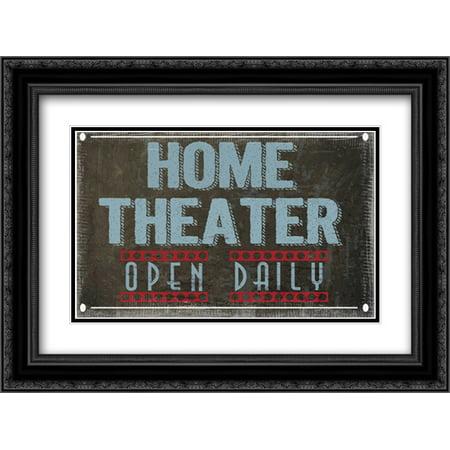 Home Theater 2x Matted 24x18 Black Ornate Framed Art Print by Greene, - System 100 Black Frame
