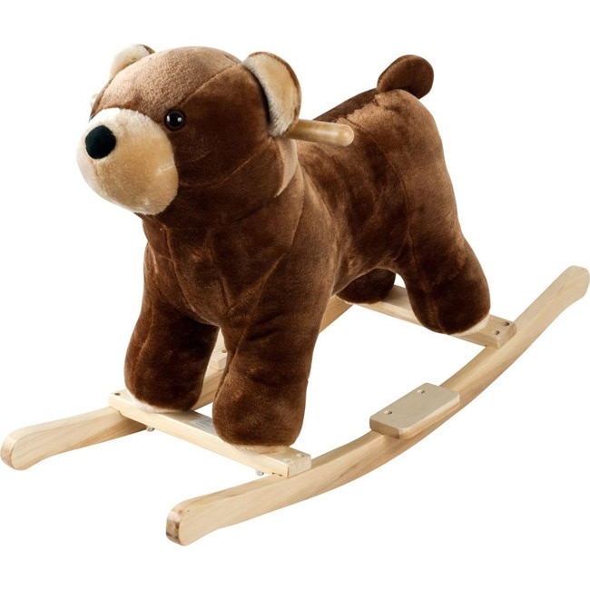Happy Trails  Handcrafted Wood Plush Rocking Barry Bear with Sounds